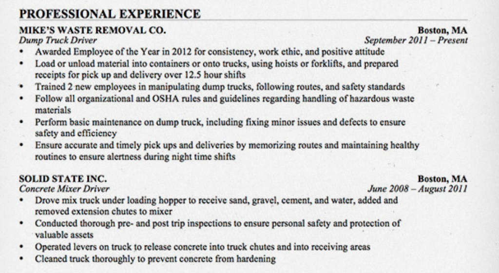 The Road Ready Truck Driver Resume Alltruckjobs Com