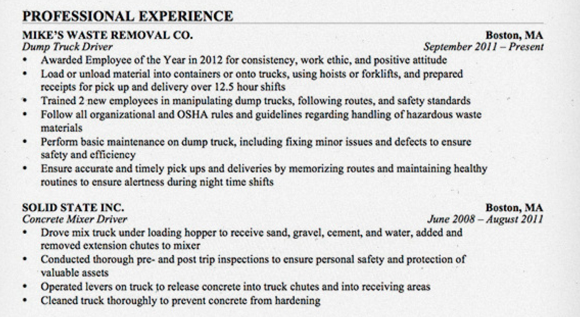 truck driver resume